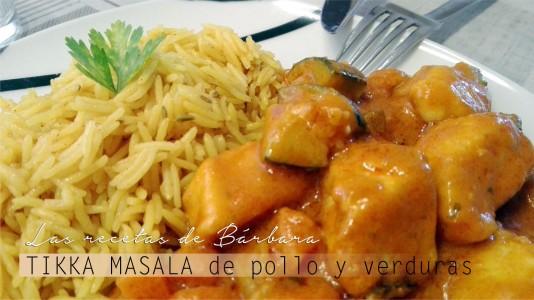 tikka masala de pollo y verduras